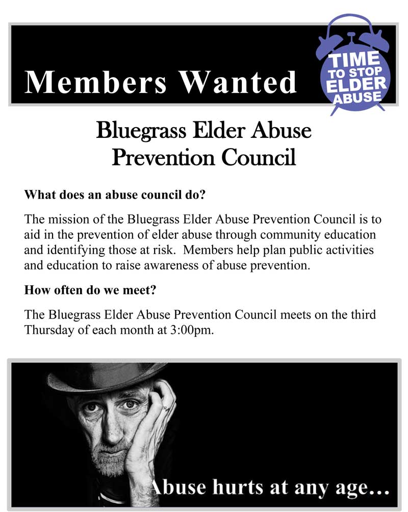 Members Wanted for Bluegrass Elder Abuse Prevention Council